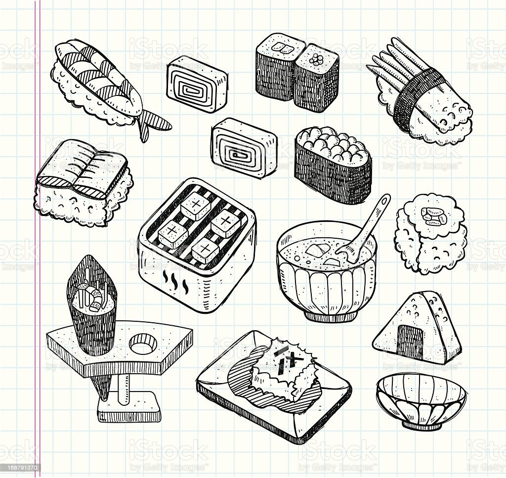 doodle Japanese food icon set royalty-free doodle japanese food icon set stock vector art & more images of asia