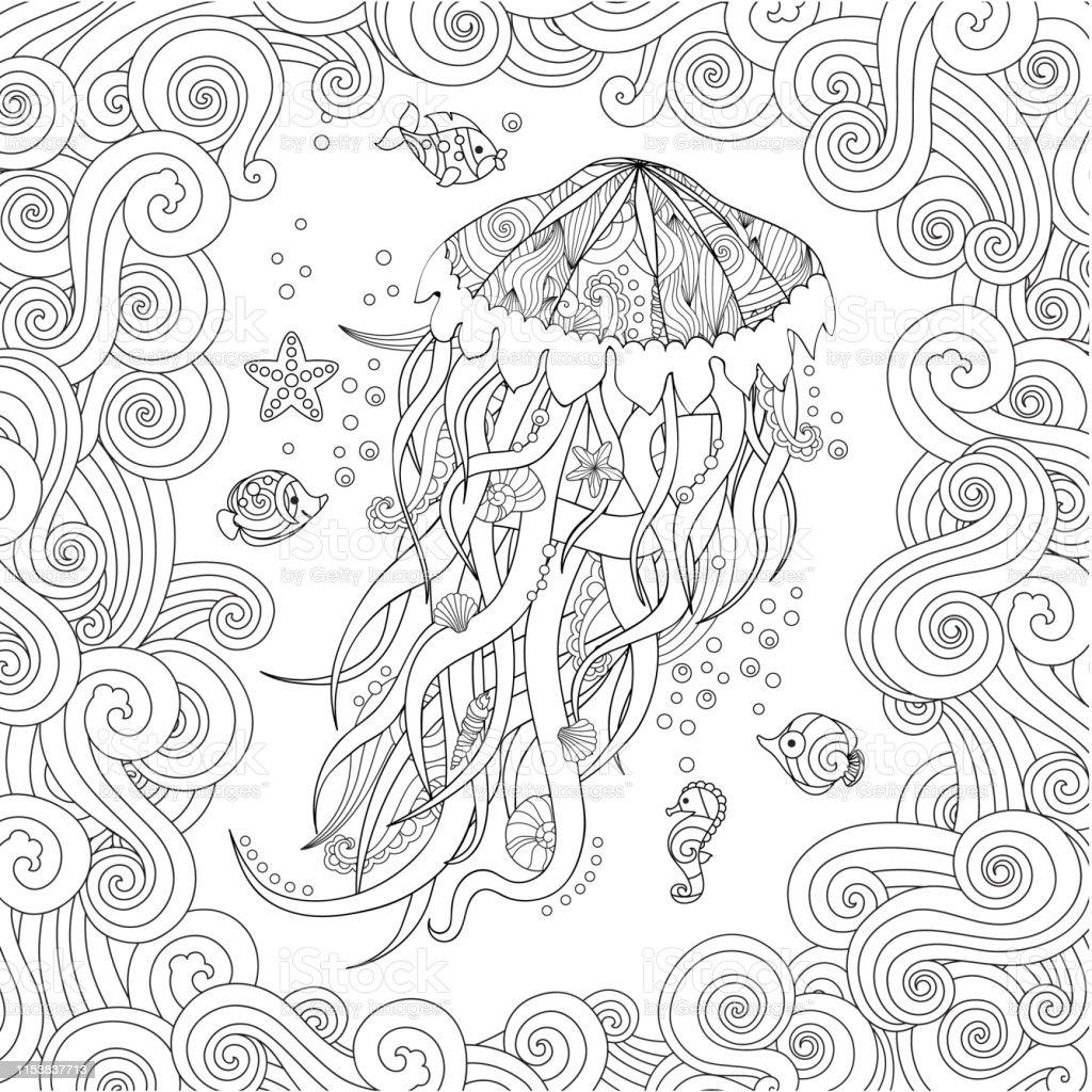 Inspired Tarziyla Doodle Denizanasi Yetiskin Ve Buyuk Cocuklar