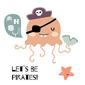Doodle jellyfish piratical vector illustration