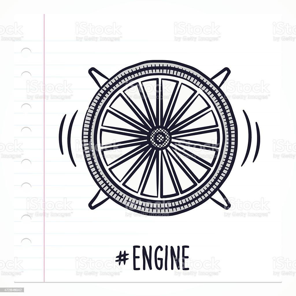 Ilustración de Doodle Icono De Motor A Reacción y más banco de ...