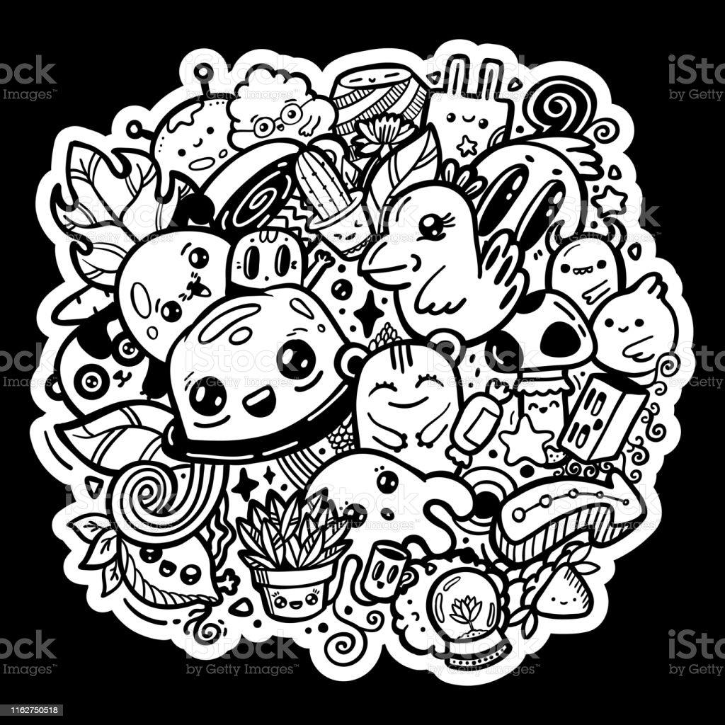 Doodle Kawaii Personnages De Dessins Animés Mignons