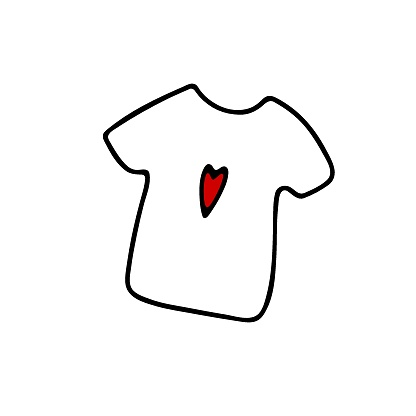 Doodle kawaii shirt with red heart print