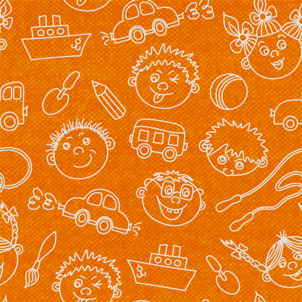 ilustrações de stock, clip art, desenhos animados e ícones de doodle kids background - tape face