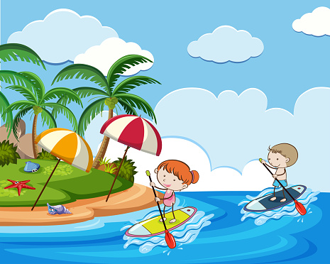 Doodle Kids on Holiday with Stand Up Paddle Board