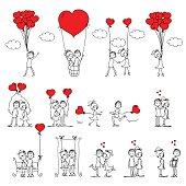 Valentine doodle boy and girl, vector illustration