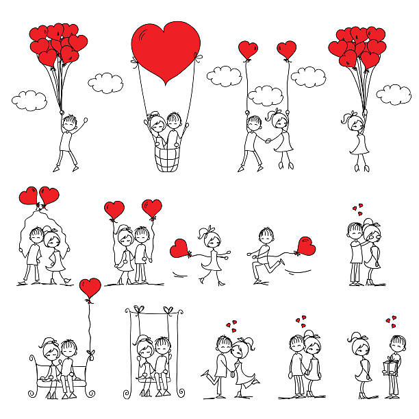 Doodle kids Valentine doodle boy and girl, vector illustration bridegroom stock illustrations