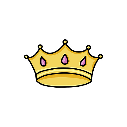 Doodle king crown. Color symbol of greatness