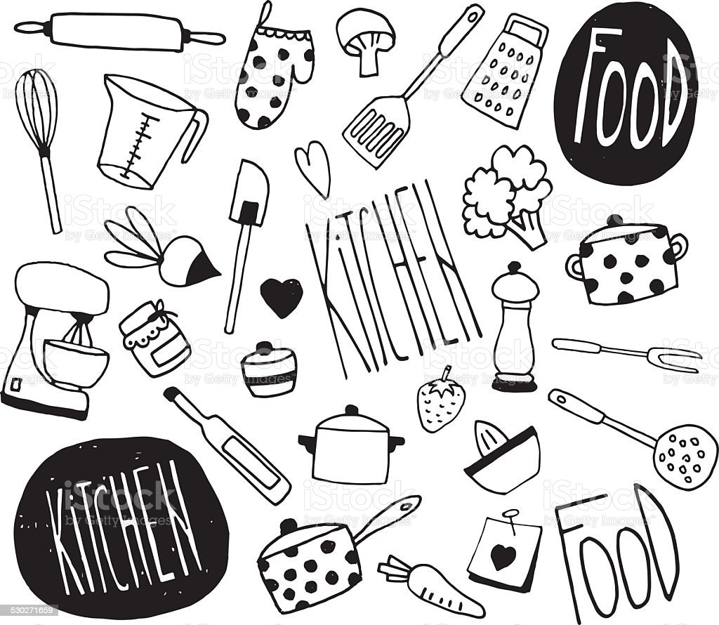 doodle kitchen icons illustration stock vector art more images of