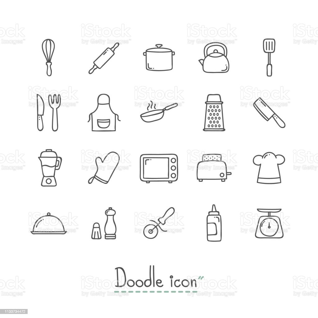 Doodle kitchen icons royalty free doodle kitchen icons stock vector art more