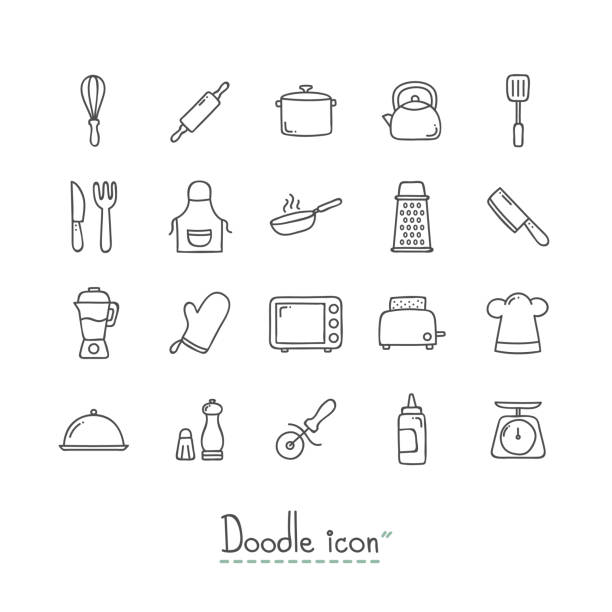 Doodle Kitchen Icons. Hand Drawn Doodle Icon Set. cooking drawings stock illustrations