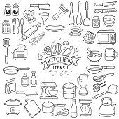 Doodle kitchen utensil sketch
