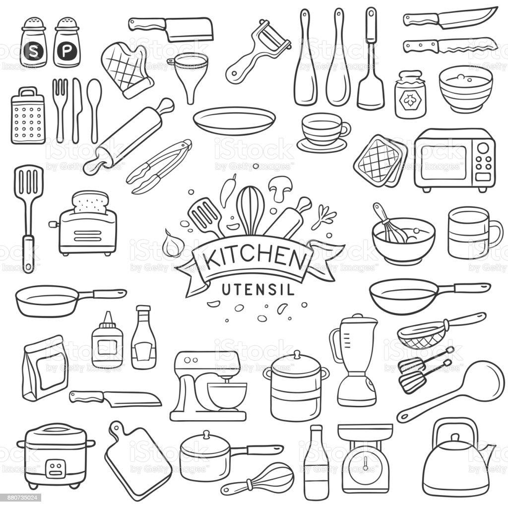 Doodle kitchen utensil sketch vector art illustration