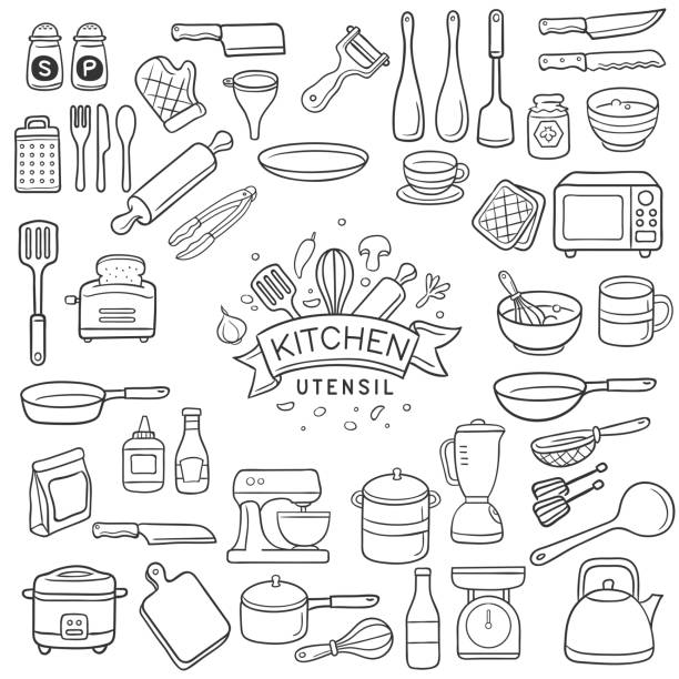 Doodle kitchen utensil sketch Set of doodle kitchen utensil outline in black isolated over white background rolling pin stock illustrations