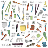 Colorful hand drawn kitchen items with labels - pattern & gift wrap