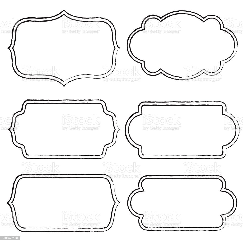 Doodle Label And Frame Set Stock Vector Art & More Images of ...