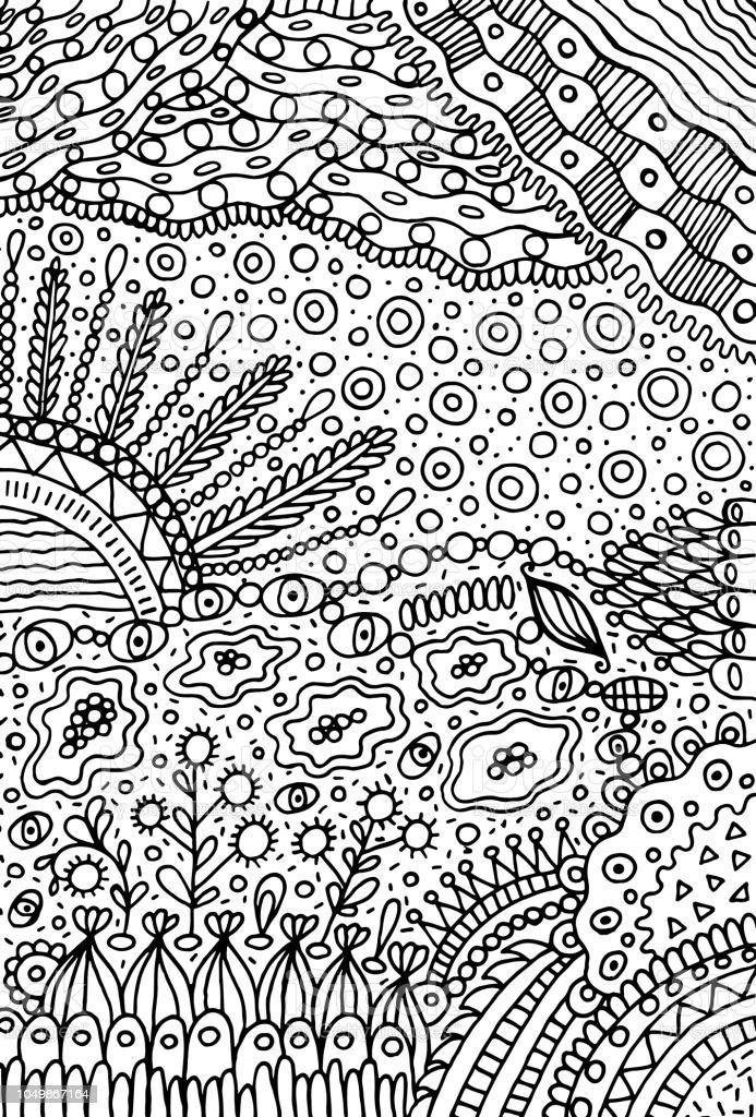 Doodle Landschaft Malvorlagen Für Erwachsene Fantastische