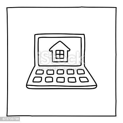 Doodle laptop and house icon. Black white symbol with frame. Line art style graphic design element. Web button. Buying house, renting apartment, new home, moving, searching online information concept.