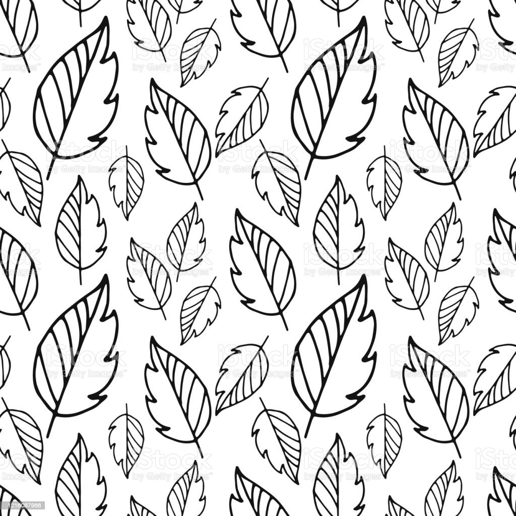 Doodle Leaf Pattern Isolated On White Outline Leaves Sketch Hand Drawing Art Line Vector Stock Illustration Stock Illustration Download Image Now Istock