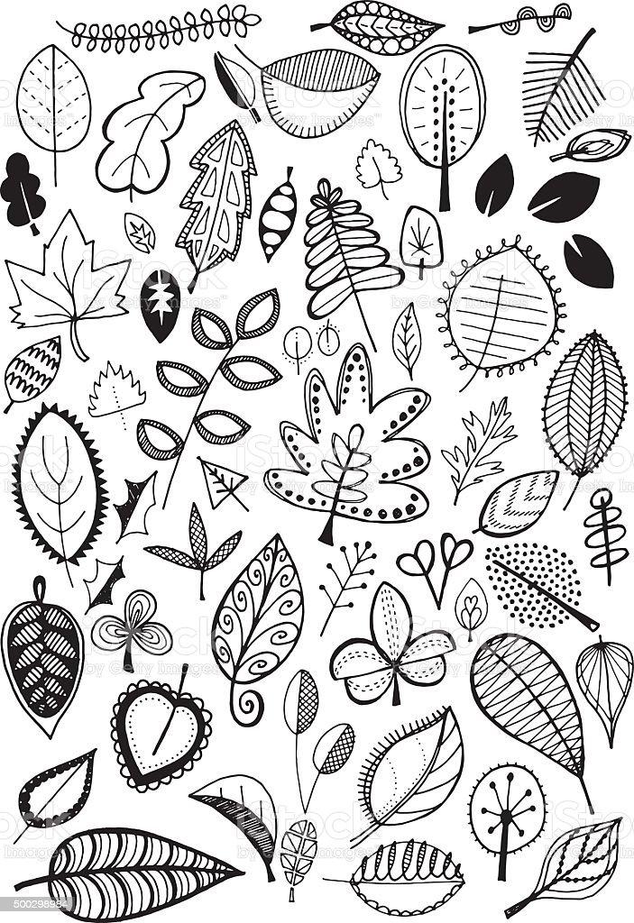 Doodle leaves vector art illustration
