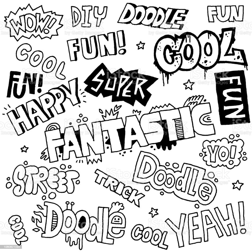 Doodle Lettering Words Cool Fun Vector Hand Drawn ...