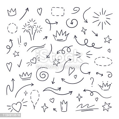 istock Doodle line swash. Emphasis text highlighters, hand drawn brush stroke, calligraphy underline. Vector hand drawn 1134910516