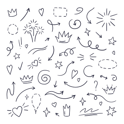Doodle line swash. Emphasis text highlighters, hand drawn brush stroke, calligraphy underline. Vector hand drawn