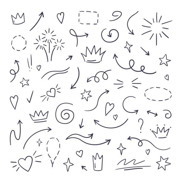 linia doodle swash. zakreślacze tekstu podkreślenia, ręcznie rysowane pociągnięcia pędzla, podkreślenie kaligrafii. ręcznie rysowana wektorowa - bazgroły rysunek stock illustrations