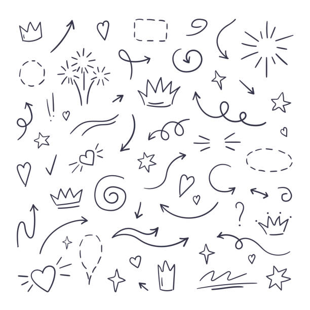doodle line swash. emphasis text highlighters, hand drawn brush stroke, calligraphy underline. vector hand drawn - szkic rysunek stock illustrations