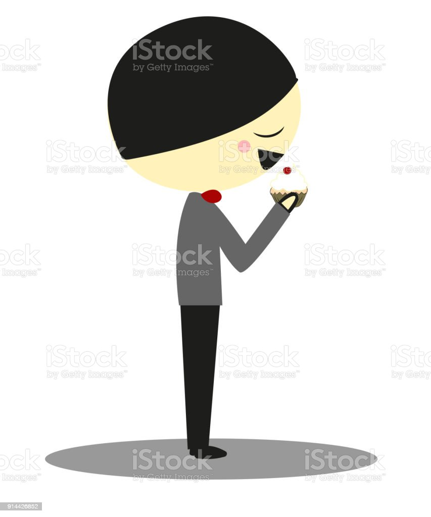 Doodle Little boy with Cupcake vector art illustration