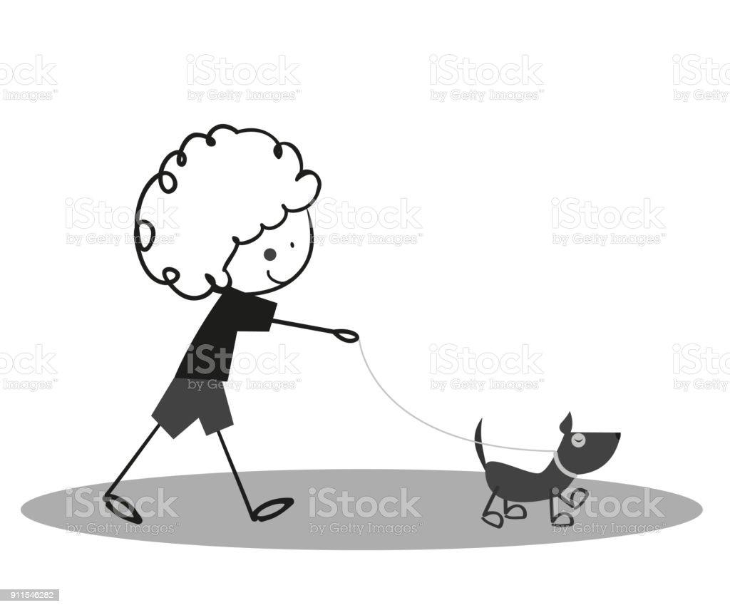 Doodle Little Cute boy walking with dog vector art illustration