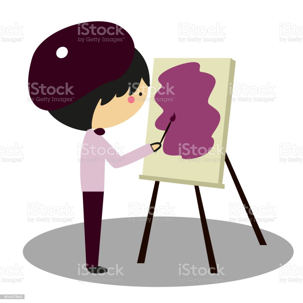 Doodle Little Painter vector art illustration