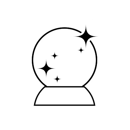 Doodle magic ball icon isolated on white. Outline crystal. Line art. Sketch vector stock illustration. EPS 10