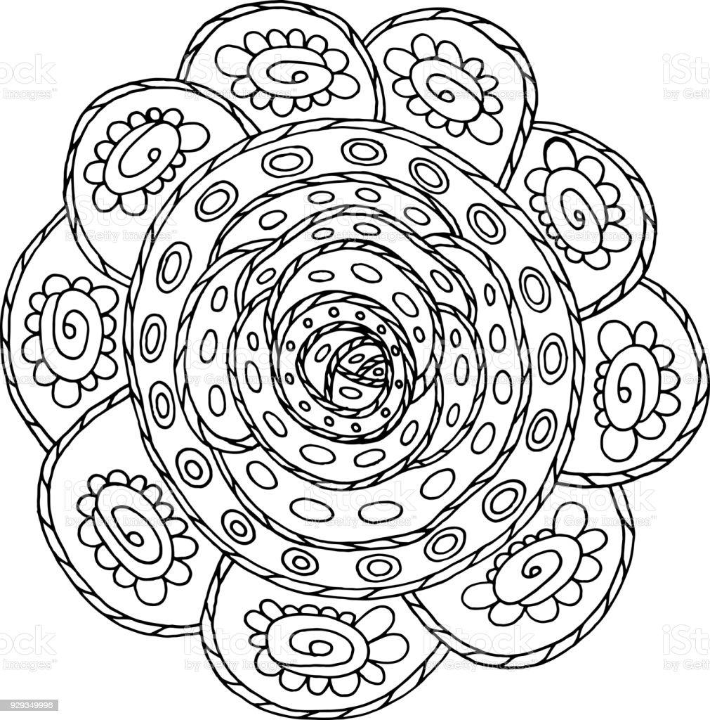 Mandala Kleurplaten Voor Volwassenen Bloemen.Doodle Mandala Kleurplaten Pagina Voor Volwassenen Cartoon