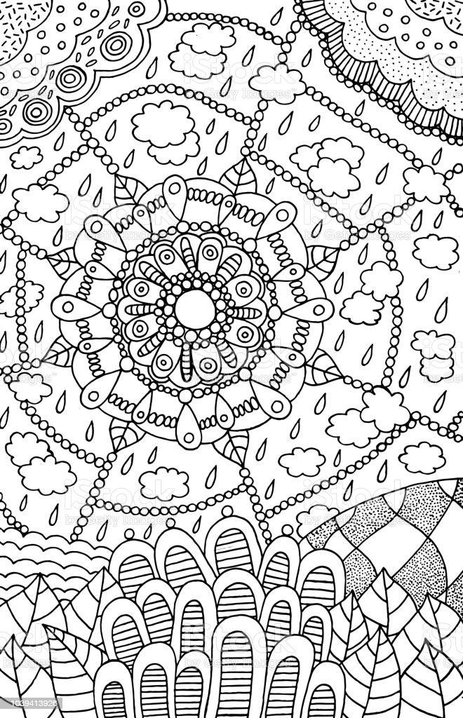 Ilustración de Dibujo De Mandala Doodle Página Para Colorear Para ...
