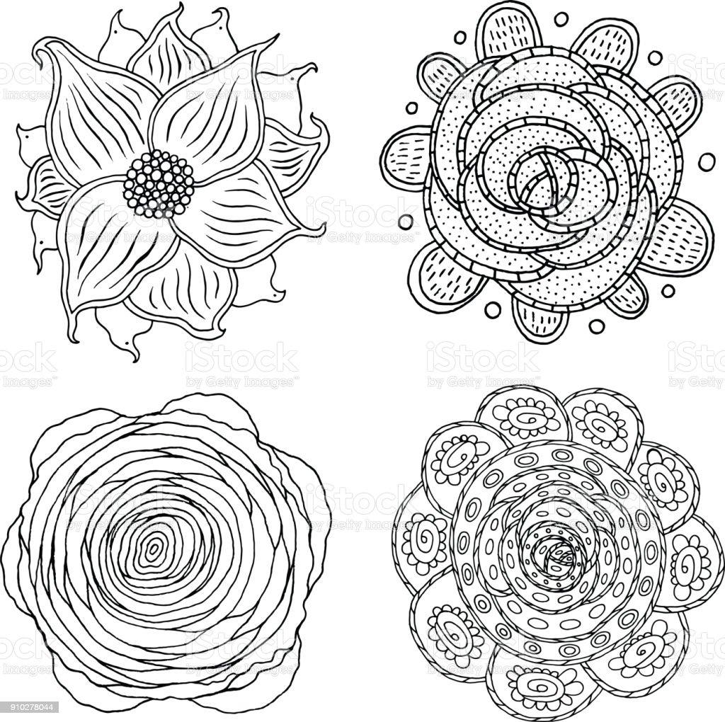 Kleurplaten Voor Volwassenen Mandala.Doodle Mandala Set Pagina Kleurplaten Voor Volwassenen Cartoon Floral Ornamenten Vectorillustratie Stockvectorkunst En Meer Beelden Van Abstract