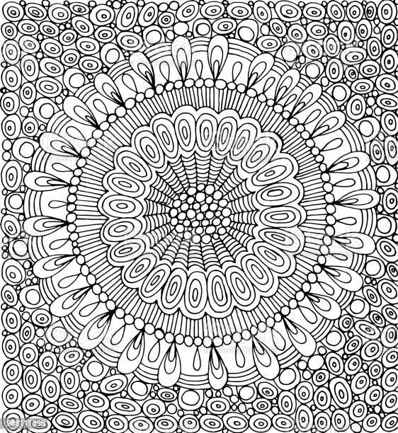 doodle mandala with circle pattern background graphic artwork page vector id