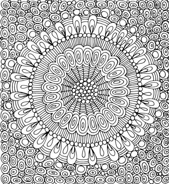 illustrations, cliparts, dessins animés et icônes de mandala de doodle avec fond cercle. gravure - coloriage pour adultes. illustration vectorielle. - adulte