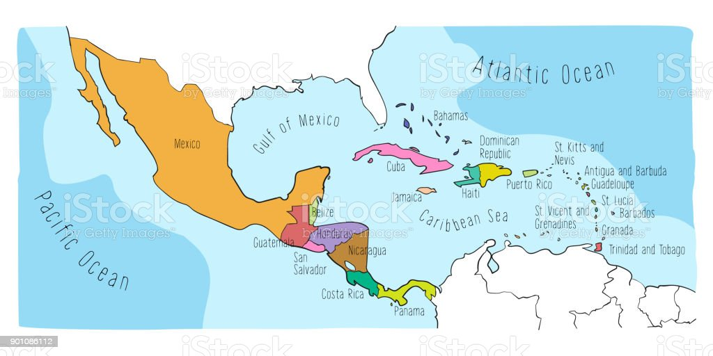 Doodle Map Of Central America And Mexico Stock Vector Art & More ...