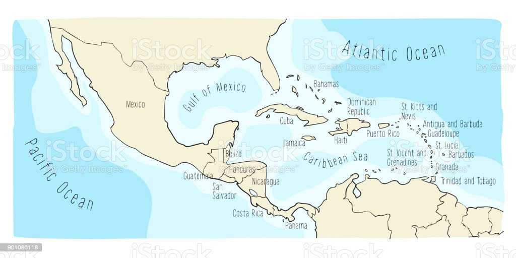 Doodle Map Of Central America And Mexico Stock Vector Art More