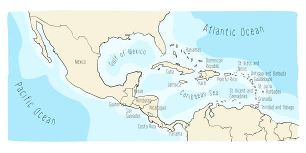 Doodle Map of Central America and Mexico Hand drawn vector map of Central America and Mexico. Colorful cartoon style cartography of central America including Mexico, Nicaragua, Honduras, Panama, San Salvador, Guatemala, Bahamas, Cuba... drawing of a haiti map stock illustrations