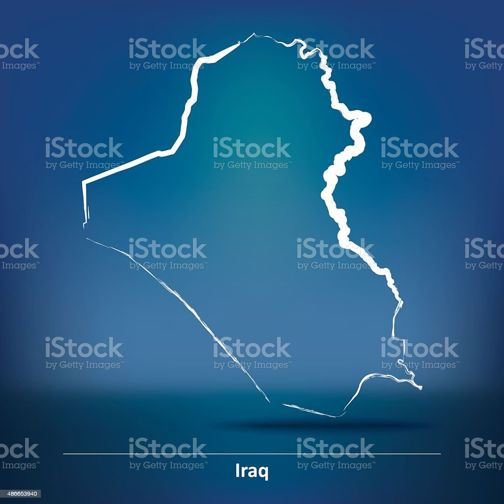 Doodle Map of Iraq vector art illustration