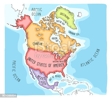 istock Doodle Map of North America 901088894