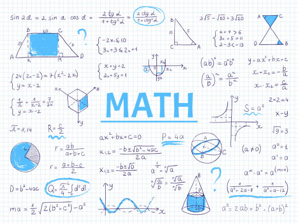 Doodle math. Algebra and geometry school equation and graphs, hand drawn physics science formulas. Vector education sketch vector art illustration