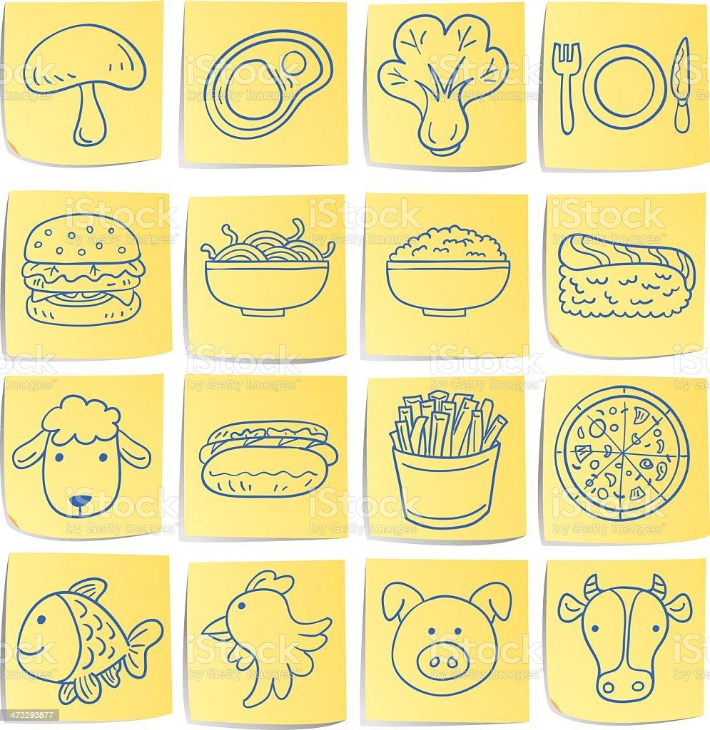 Doodle memo icon set - food vector art illustration