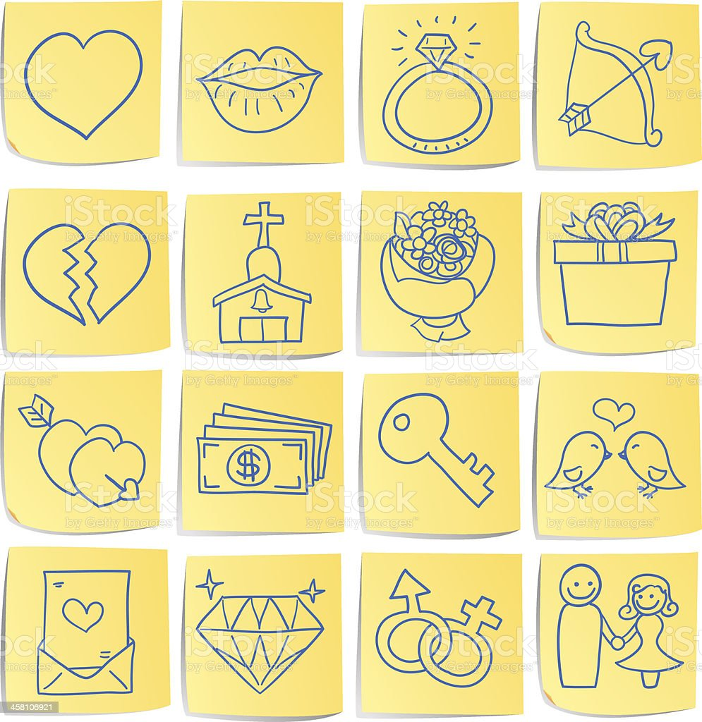 Doodle memo icon set - Love and romance royalty-free stock vector art