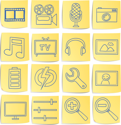 Doodle Memo Icon Set Multi Media Stock Illustration - Download Image Now