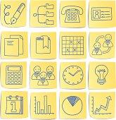 Doodle memo icon set - Work