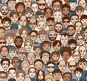 Hand drawn seamless pattern of a crowd of different men from diverse ethnic backgrounds