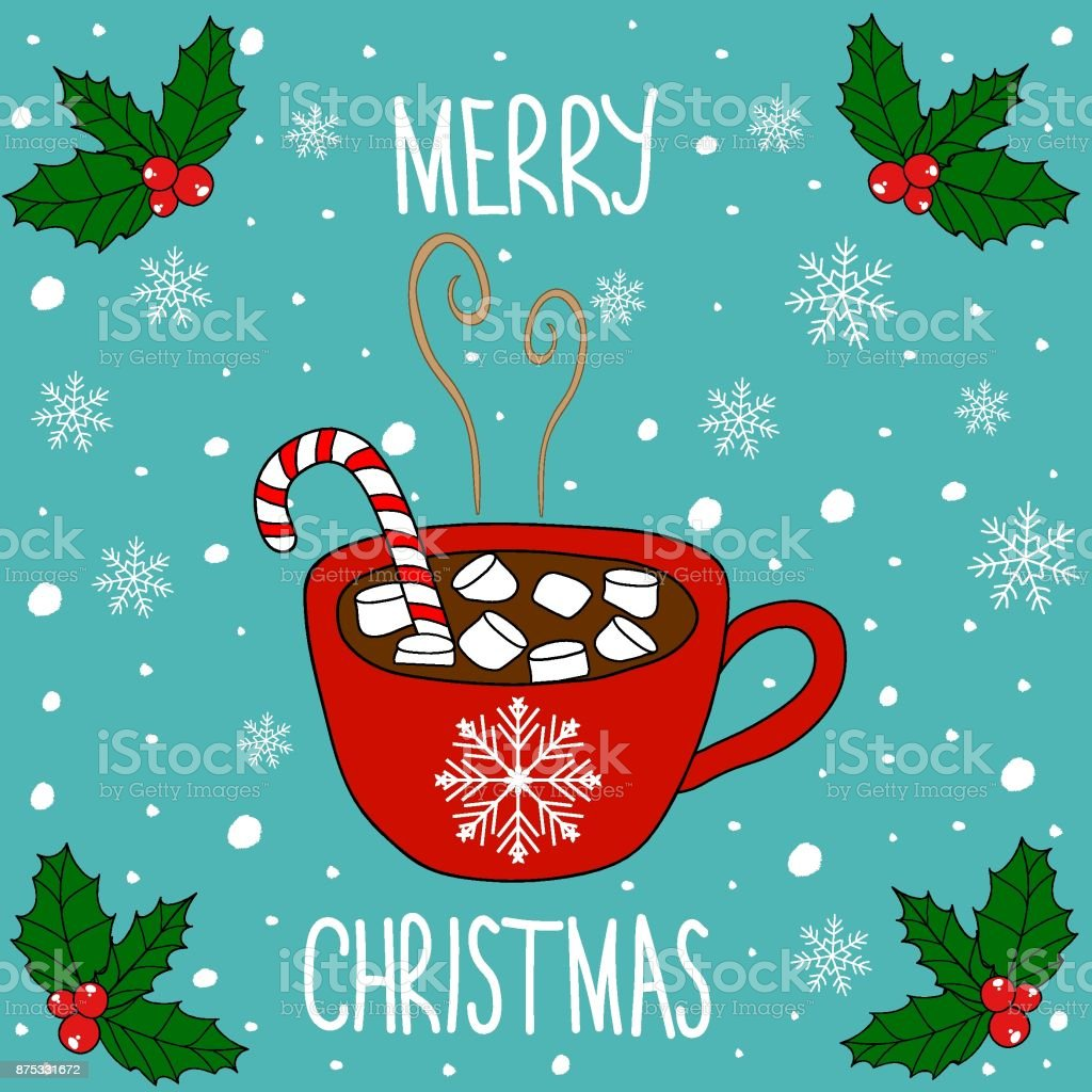 Doodle Merry Christmas Card Lettering Red Mug With Hot Chocolate