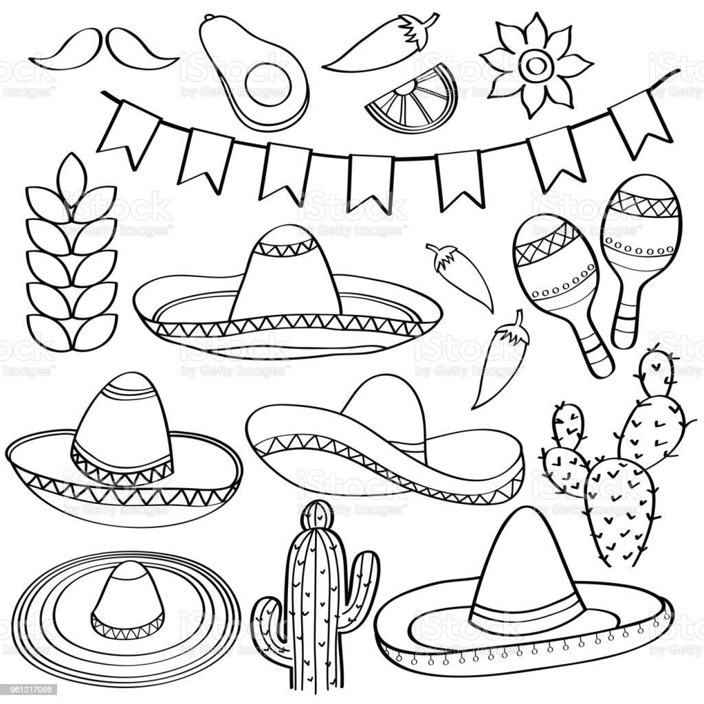 Ilustración De Doodle Colección Símbolo De México Aislado En